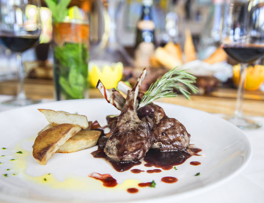 Grilled lamb chops, olives, cherry tomato, red wine reduction and roasted potato at Mimi & Coco Bistro on Thursday, Aug 3, 2017, in Henderson. Benjamin Hager Las Vegas Review-Journal @benjamin ...