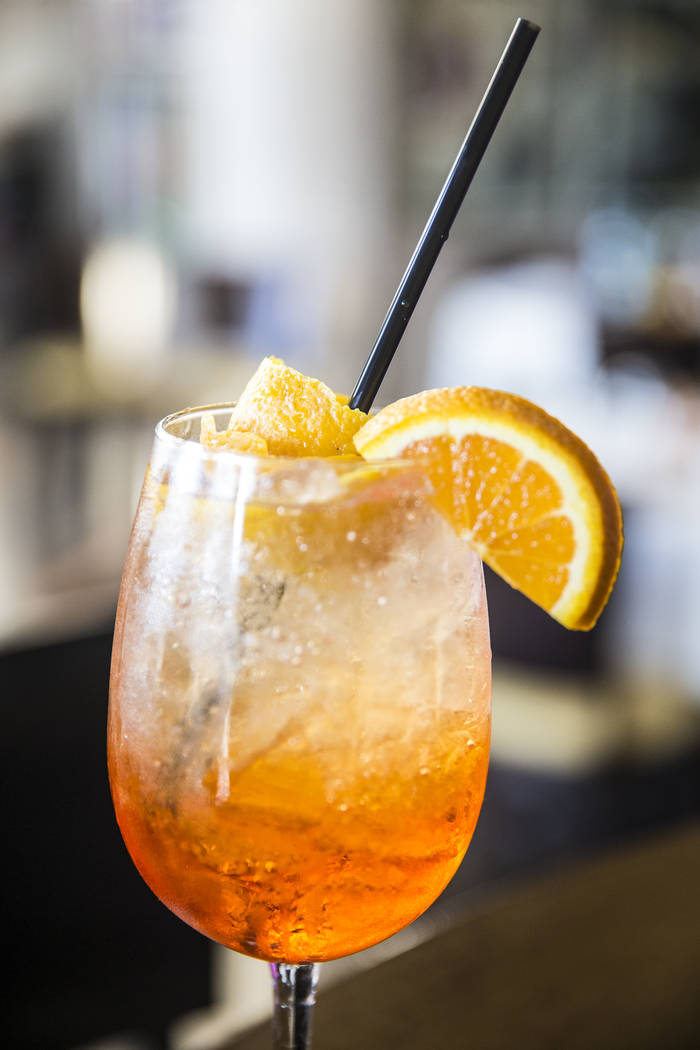 The aperol spritz cocktail at Mimi & Coco Bistro on Thursday, Aug 3, 2017, in Henderson. Benjamin Hager Las Vegas Review-Journal @benjaminhphoto