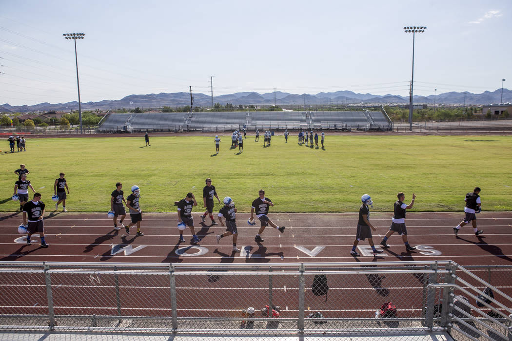 Football practice at Basic High School football field on Monday, Aug. 7, 2017.  Patrick Connolly Las Vegas Review-Journal @PConnPie