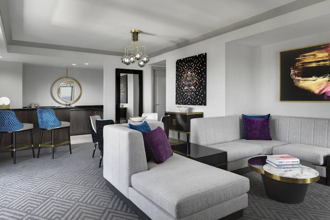 A wraparound terrace suite at The Cosmopolitan of Las Vegas. (thomashartshelby.com.=)