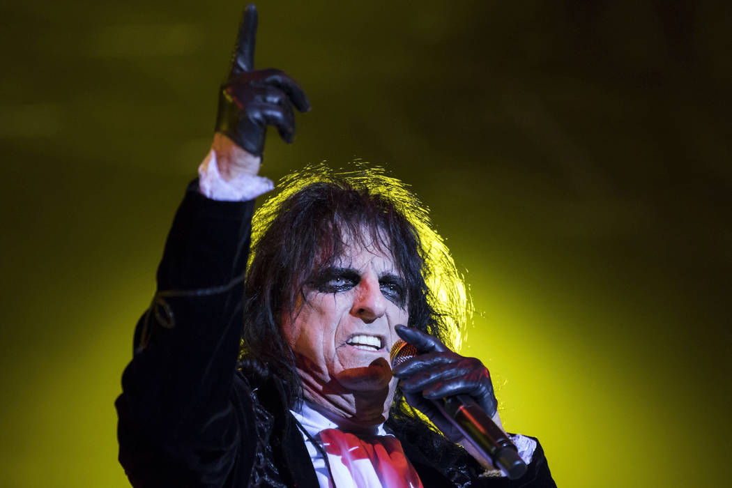 In this photo taken Thursday, Aug. 3, 2017, Rock legend Alice Cooper of the United States performs during his concert at the 20th Fezen Festival in Szekesfehervar, 63 kms southwest of Budapest, Hu ...