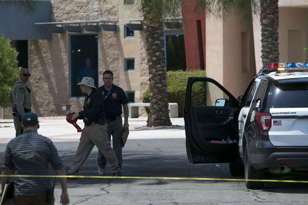 Police are investigating an officer involved shooting at the Life Springs Christian Church on East Warm Springs Road and Burnham Avenue, Saturday, August 5, 2017, in Las Vegas. Richard Brian Las V ...