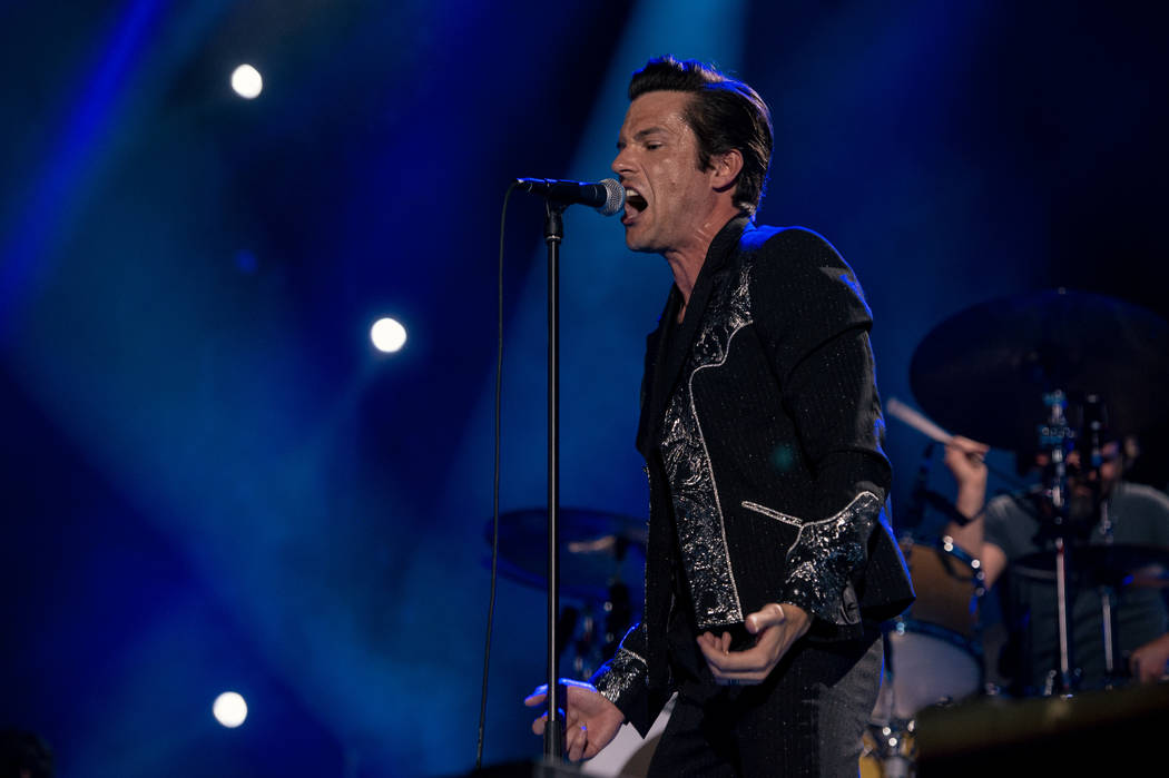 Brandon Flowers and The Killers performed at Caesars Palace on July 31. (Rob Loud