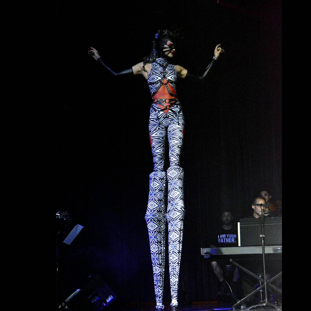 """Lora Kelsey performs as a high-stilted Red Queen during""""Alice"""" at Rocks Lounge at Red Rock Resort on Monday, July 10, 2017 (Abel Armas)"""