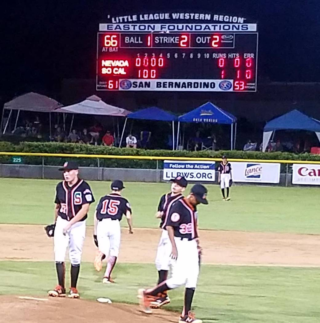 Summerlin South players meet on the mound during the game against Southern California in San Bernardino, Calf., Sunday, Aug. 6, 2017. Lou Ponsi Las Vegas Review-Journal