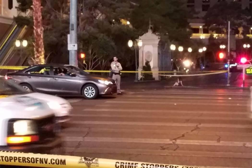 Las Vegas police are investigating an early Monday morning shooting on Las Vegas Boulevard. (Mike Shoro/Las Vegas Review-Journal)