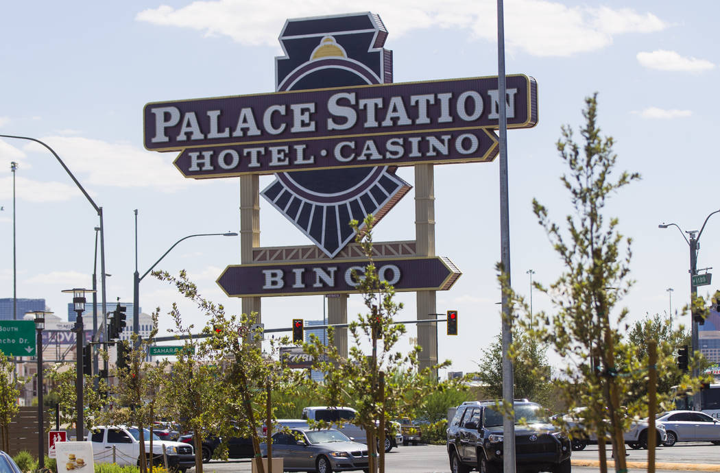 The Palace Station marquee at Sahara Avenue and Rancho Drive overlooks Interstate 15 in Las Vegas on Tuesday, Aug. 8, 2017. Chase Stevens Las Vegas Review-Journal @csstevensphoto