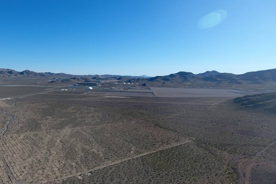 The Faraday Future Field management offices and plant site, as seen from the air on Feb. 14, 2017, reside in the Mountain View Industrial Park within the Apex overlay. (Michael Quine/Las Vegas Rev ...