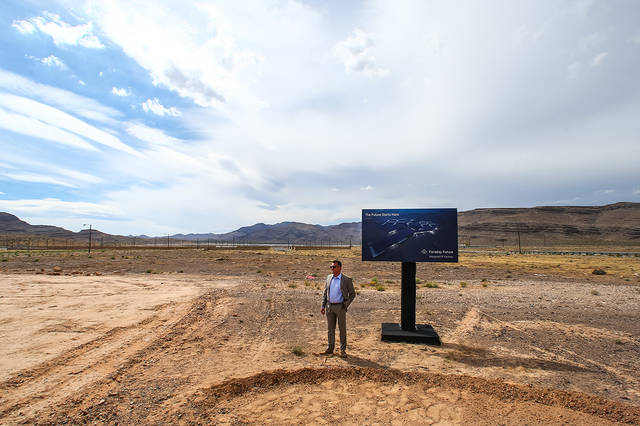 Faraday Future vice president of manufacturing Dag Reckhorn waits for the groundbreaking for the company's planned 900-acre manufacturing site in North Las Vegas on Wednesday, April 13, 2016. (Cha ...