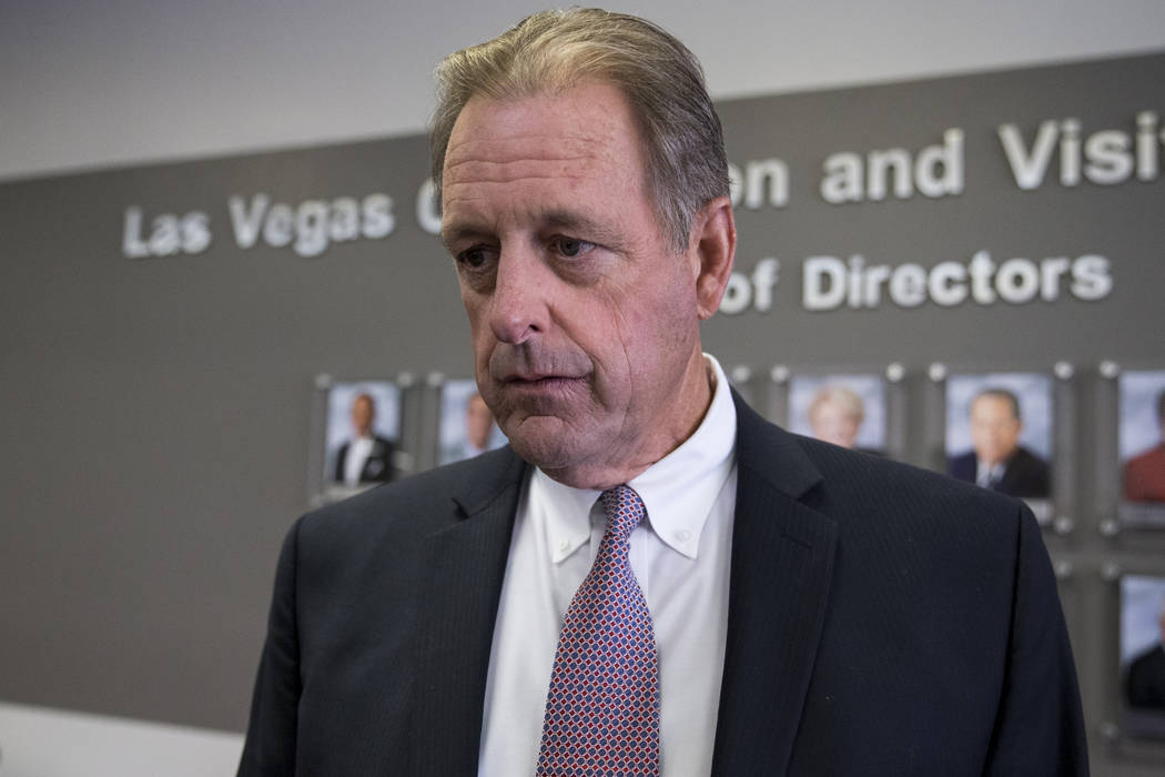 Las Vegas Convention and Visitors Authority board member and North Las Vegas Mayor John Lee following a meeting at the Las Vegas Convention Center in Las Vegas on Tuesday, Aug. 8, 2017. (Erik Verd ...
