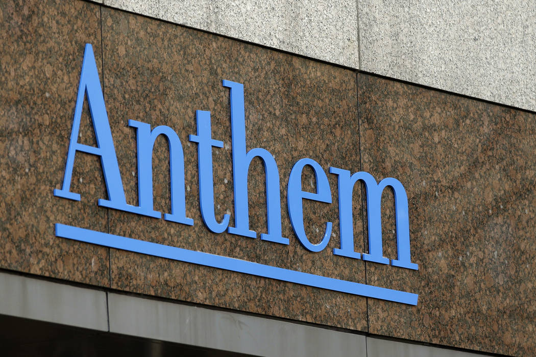 The Anthem logo at the company's corporate headquarters in Indianapolis, Dec. 3, 2014. (Darron Cummings/File, AP)