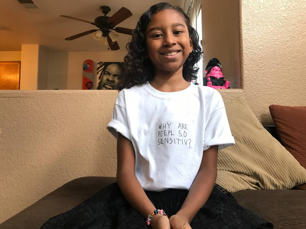 Kumei Norwood, 9, wearing one of her t-shirt designs on Aug. 6, 2017 in her North Las Vegas home. (Kailyn Brown/ View) @KailynHype