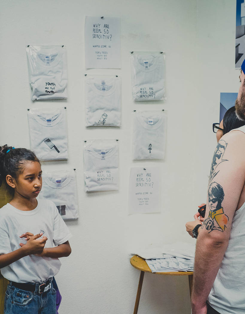Kumei Norwood, 9, displays her zines on July 29, 2017 at The Bakery inside Downtown Spaces, 1800 S. Industrial Road. (Courtesy of Tiaree Norwood)