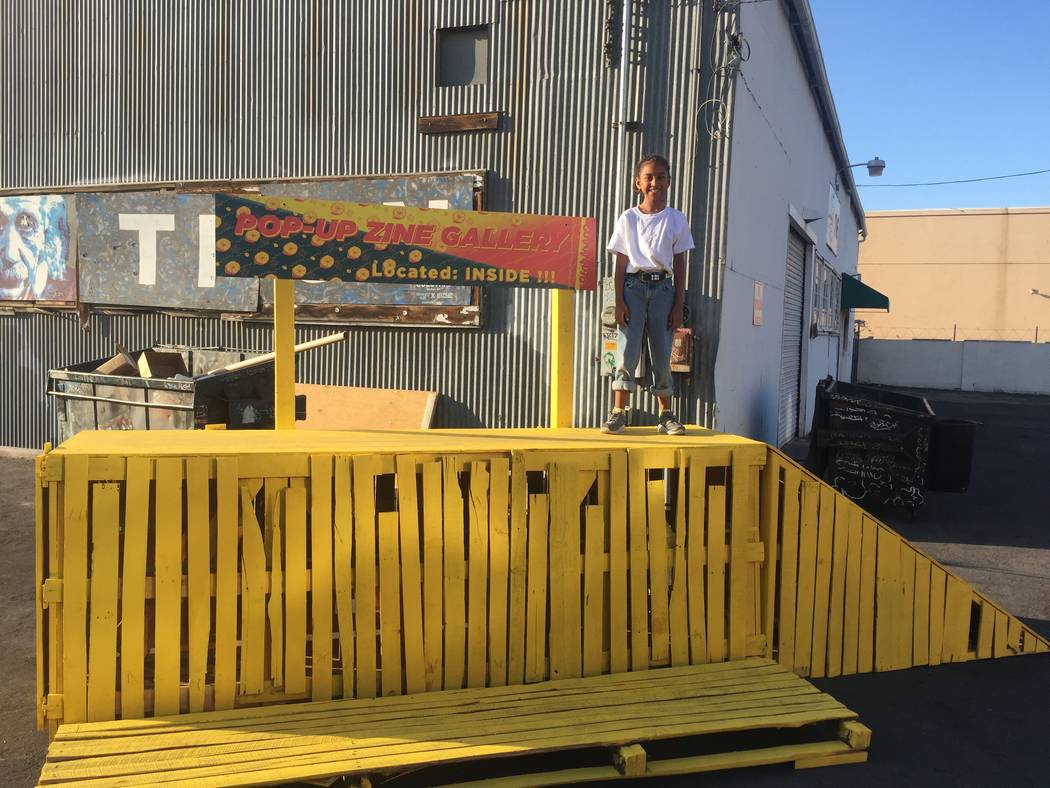 Kumei Norwood, 9, standing onto of structure on July 29, 2017 at The Bakery inside Downtown Spaces, 1800 S. Industrial Road. (Courtesy of Tiaree Norwood)