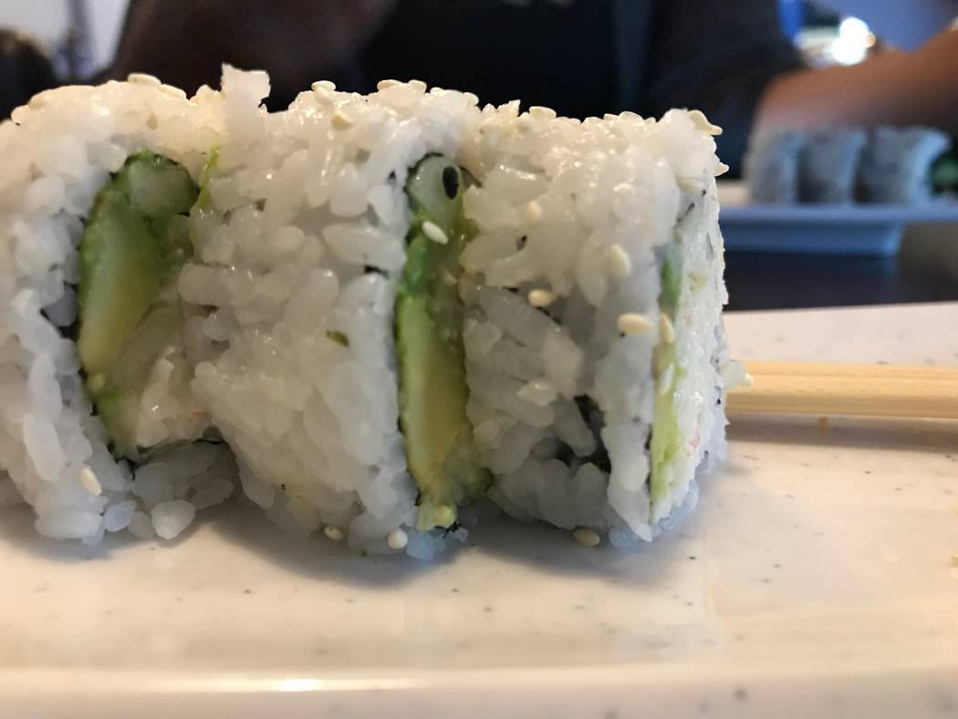 The California roll is served on Aug. 6, 2017 at OMG Sushi, 2351 N. Rainbow Blvd #103. (Kailyn Brown/ View) @KailynHype