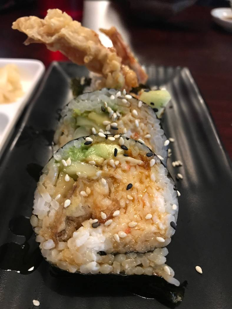 The spider roll is served on Aug. 6, 2017 at OMG Sushi, 2351 N. Rainbow Blvd #103. (Kailyn Brown/ View) @KailynHype