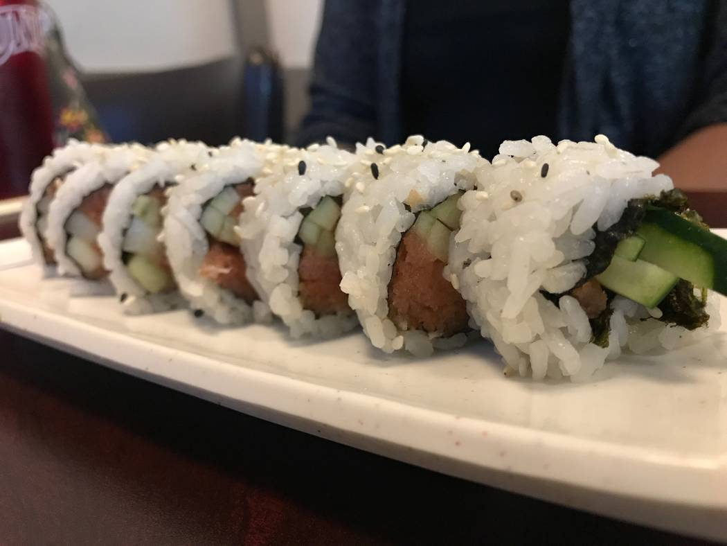 The tuna roll is served on Aug. 6, 2017 at OMG Sushi, 2351 N. Rainbow Blvd #103. (Kailyn Brown/ View) @KailynHype