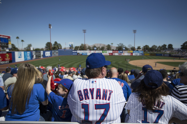 Chicago Cubs fans watch their team play against the New York Mets in their baseball game during Big League Weekend at Cashman Field on Friday, March 1, 2016, in Las Vegas. The Mets won 8-1. Erik V ...