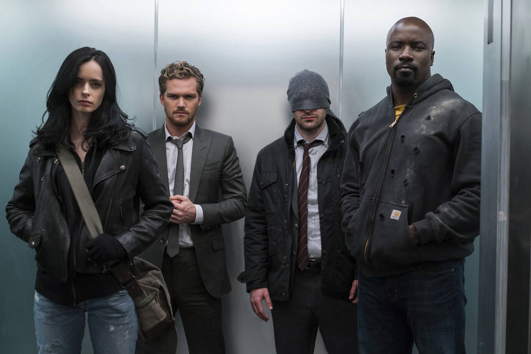 From left, Krysten Ritter, Finn Jones, Charlie Cox, Mike Colter star in Marvel's The Defenders (Sarah Shatz/Netflix)
