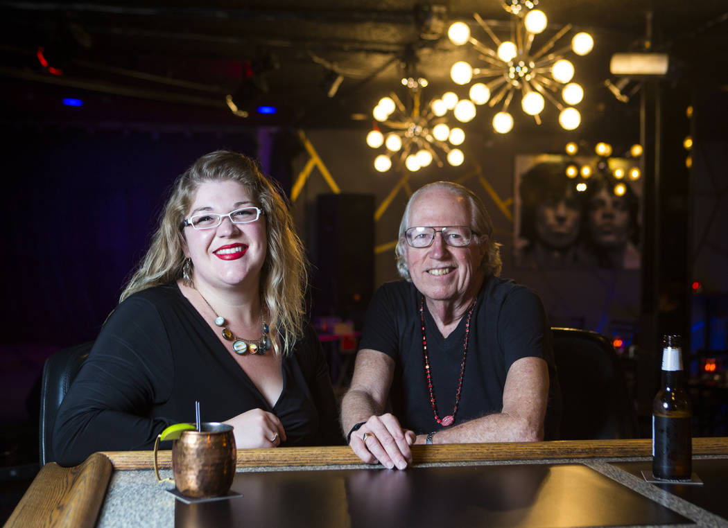 Musician Lisa Mac, left, and poet Lee Mallory at the Sand Dollar Lounge in Las Vegas on Tuesday, Aug. 8, 2017. Mallory and Mac will be headlining the Love Wins Again fundraiser for Opportunity Vil ...