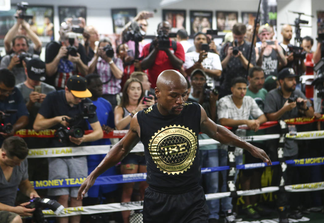Floyd Mayweather Jr. works out ahead of his fight against Conor McGregor, slated for Aug. 26, at the Mayweather Boxing Club in Las Vegas on Thursday, Aug. 10, 2017. Chase Stevens Las Vegas Review- ...