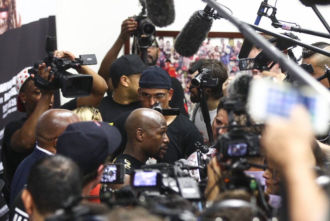 Floyd Mayweather Jr. is interviewed ahead of his fight against Conor McGregor, slated for Aug. 26, at the Mayweather Boxing Club in Las Vegas on Thursday, Aug. 10, 2017. Chase Stevens Las Vegas Re ...
