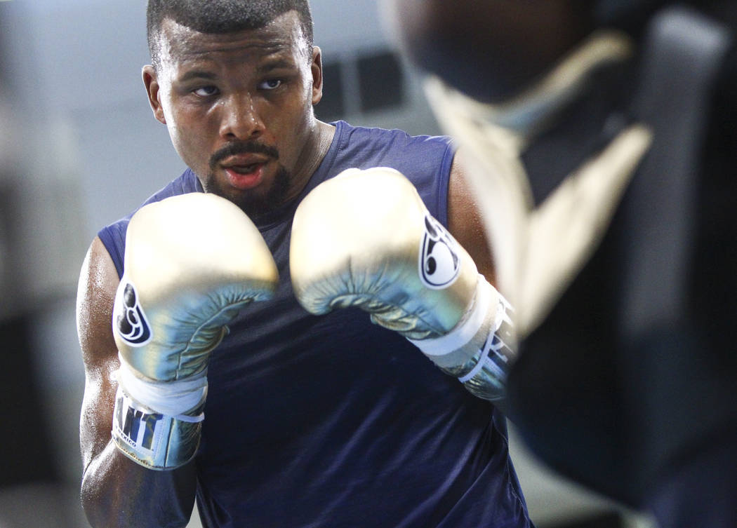 Badou Jack works out ahead of his fight against Nathan Cleverly, slated for Aug. 26, at the Mayweather Boxing Club in Las Vegas on Thursday, Aug. 10, 2017. Chase Stevens Las Vegas Review-Journal @ ...