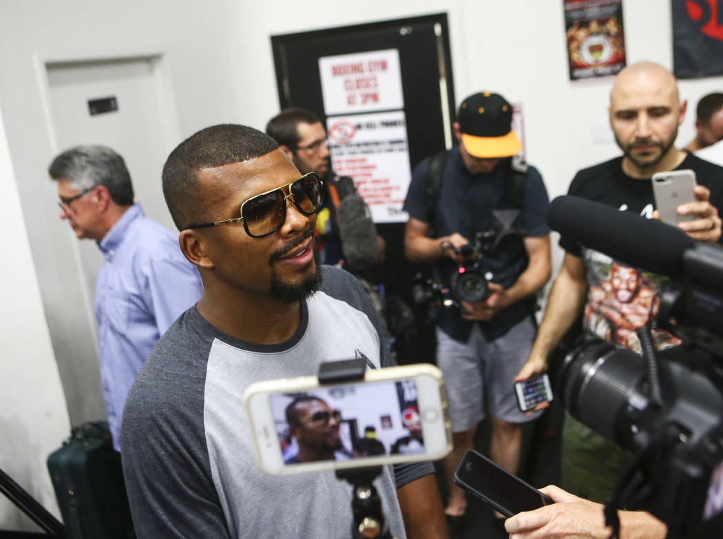 Badou Jack is interviewed ahead of his fight against Nathan Cleverly, slated for Aug. 26, at the Mayweather Boxing Club in Las Vegas on Thursday, Aug. 10, 2017. Chase Stevens Las Vegas Review-Jour ...