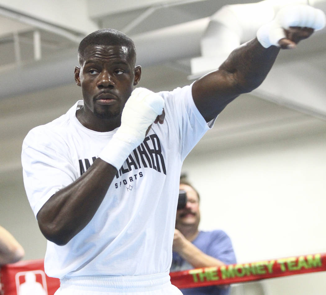 Andrew Tabiti works out ahead of his fight against Steve Cunningham, slated for Aug. 26, at the Mayweather Boxing Club in Las Vegas on Thursday, Aug. 10, 2017. Chase Stevens Las Vegas Review-Journ ...