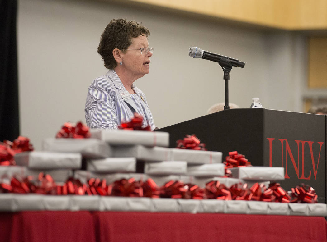 Vice dean Dr. Ellen Cosgrove speaks to UNLVճ inaugural class of medical students prior to presenting them with stethoscopes at UNLV in Las Vegas on Monday, July 17, 2017. Bridget Bennett Las ...