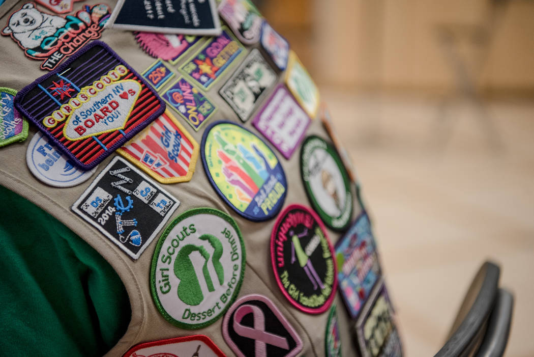 Terrencia's Girl Scout vest during Alexa Cafe, an all-girls tech camp, at Girl Scouts of Southern Nevada on Tuesday, Aug. 8, 2017, in Las Vegas. (Morgan Lieberman/Las Vegas Review-Journal)