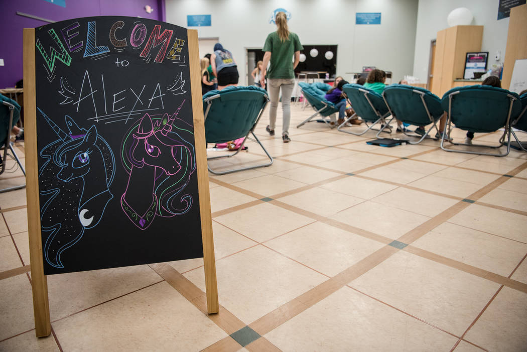 Local Girl Scouts member participate in Alexa Cafe, an all-girls tech camp, at the Girl Scouts of Southern Nevada on Tuesday, Aug. 8, 2017, in Las Vegas. (Morgan Lieberman/Las Vegas Review-Journal)