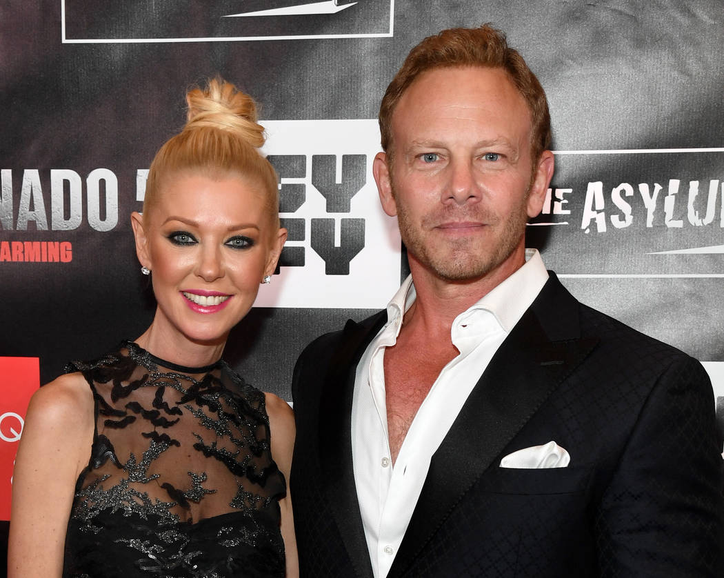 "Actress Tara Reid (L) and actor Ian Ziering attend the premiere of ""Sharknado 5: Global Swarming"" at The LINQ Hotel & Casino on August 6, 2017 in Las Vegas, Nevada.  (Ethan Miller/Getty Images ..."
