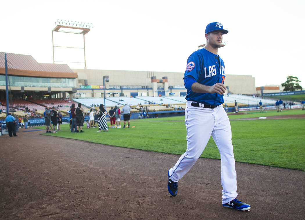 Las Vegas 51s' Jamie Callahan takes the field before playing against the Reno Aces in a baseball game at Cashman Field in Las Vegas on Wednesday, Aug. 9, 2017. Chase Stevens Las Vegas Review-Journ ...