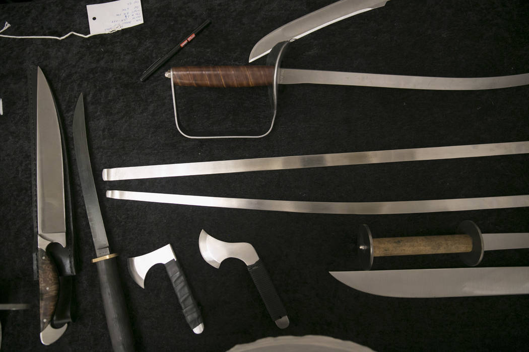 Knives and Swords from S.G.T. Blades, a vendor from Canada, during Combat Con at Flamingo hotel-casino in Las Vegas, Saturday, Aug. 12, 2017. Gabriella Angotti-Jones Las Vegas Review-Journal @gabr ...