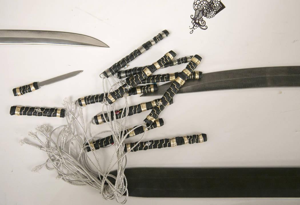 Badger Blade's mini self-defense daggers made for women to carry around their necks are sold at Combat Con at Flamingo hotel-casino in Las Vegas, Saturday, Aug. 12, 2017. Gabriella Angotti-Jones L ...