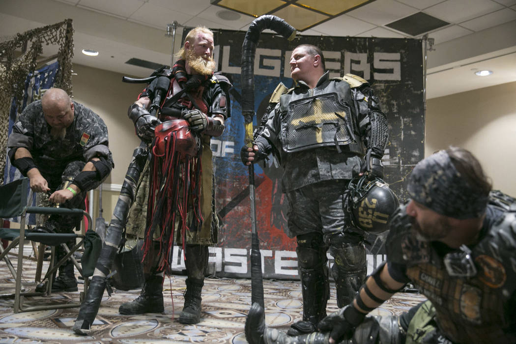 Juggers of the Wasteland players put on their gear before a demonstration during Combat Con at Flamingo hotel-casino in Las Vegas, Saturday, Aug. 12, 2017. Gabriella Angotti-Jones Las Vegas Review ...