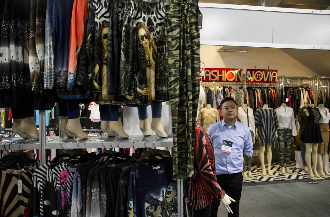 Danny Piao of Los Angeles, sales manager for JVINI Fashion, during the OFFPRICE Show at the Sands Expo and Convention Center in Las Vegas on Saturday, Aug. 12, 2017. Erik Verduzco Las Vegas Review ...
