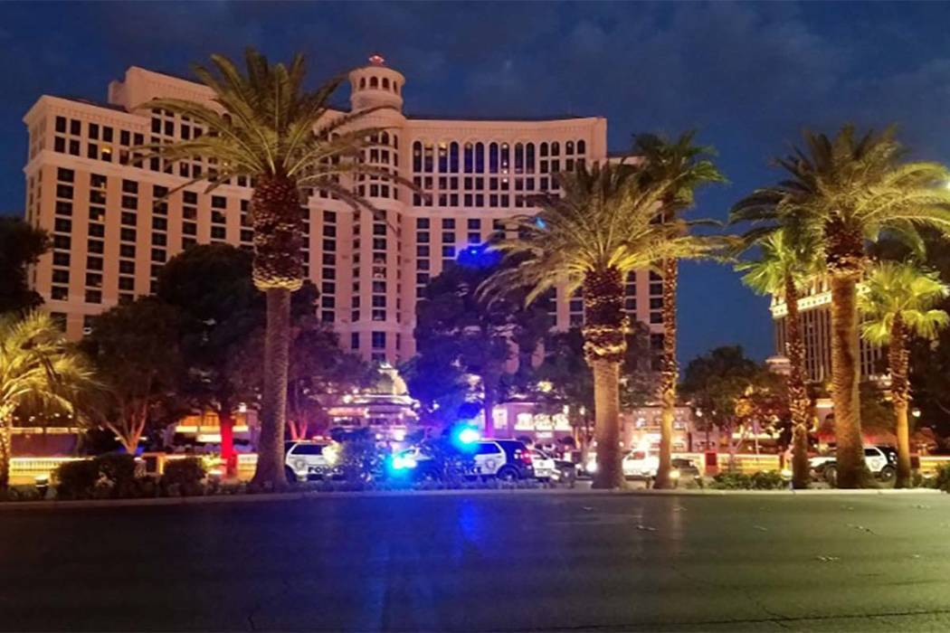 Las Vegas responded to a shot being fired early Monday morning near Bellagio. (Mike Shoro/Las Vegas Review-Journal)