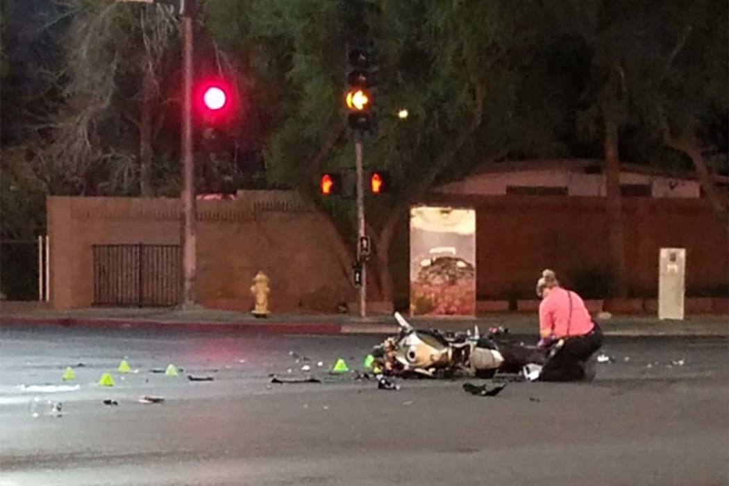 NOrth Las Vegas police are investigating a Tuesday morning crash involving a motorcycle and a sedan at the intersection of Lake Mead Boulevard and Belmont Street. (Mike Shoro/Las Vegas Review-Journal)
