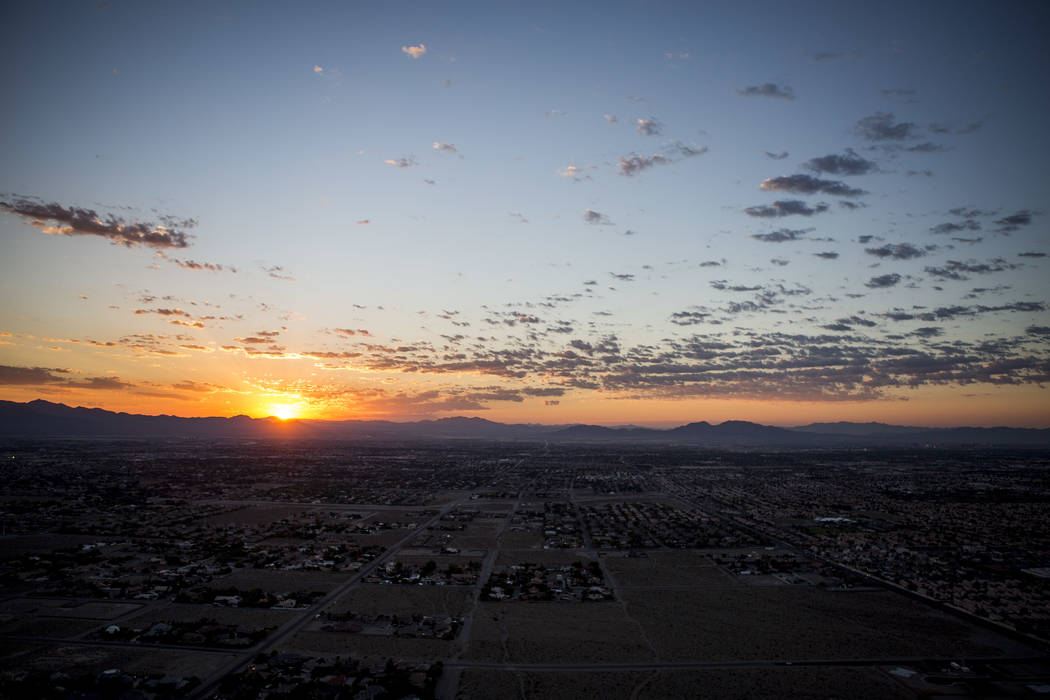 The sun rises over the Las Vegas Valley as seen from Lone Mountain on Tuesday, Aug. 8, 2017.  Patrick Connolly Las Vegas Review-Journal @PConnPie