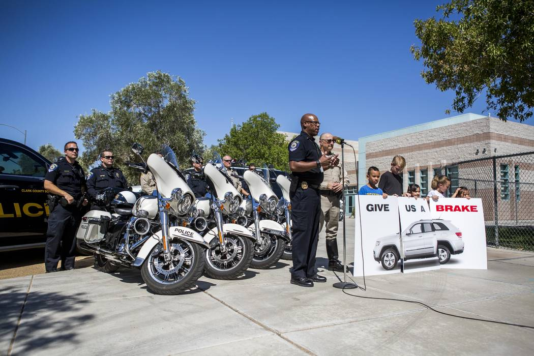 Clark County School District police Lt. Darnell Couthen during a joint news conference with Las Vegas police about back-to-school safety at Hal Smith Elementary School on Tuesday, Aug. 8, 2017. (P ...