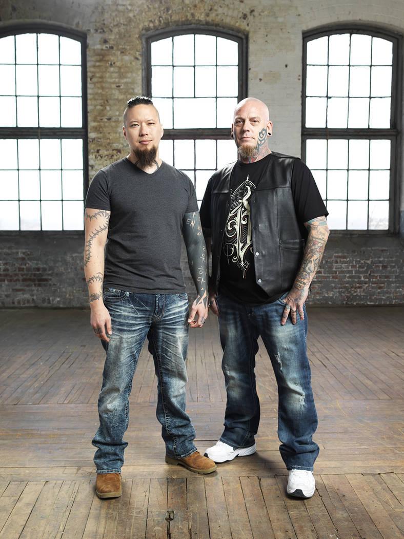 "Christian Buckingham and Noelin Wheeler of Basilica Tattoo in Las Vegas appear on ""Ink Masters."" (Spike TV)"
