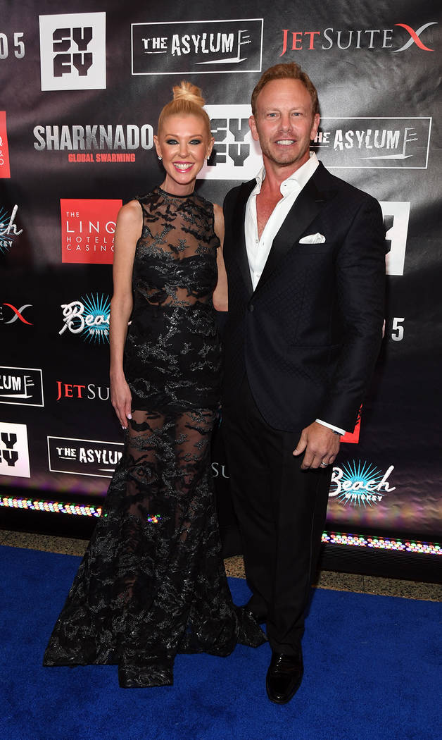 "Actress Tara Reid, left, and actor Ian Ziering attend the premiere of ""Sharknado 5: Global Swarming"" at The LINQ Hotel on Aug. 6. (Ethan Miller/Getty Images for Caesars Entertainment)"