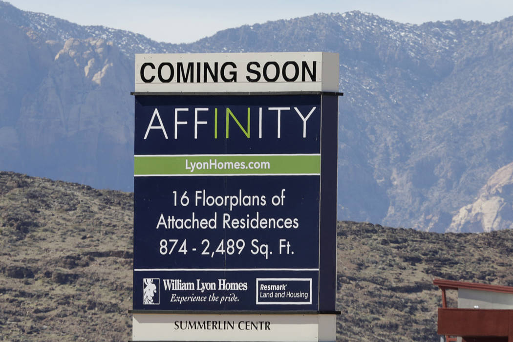 A sign at the construction site where William Lyon Homes is building a 46-acre project in Summerlin. The homebuilder has laid out plans for a 29-acre, 391-unit condo project at Grand Canyon Drive  ...