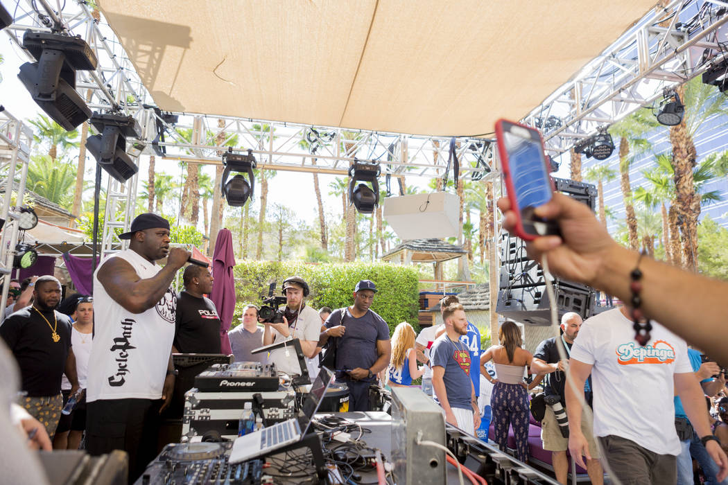 Shaquille O'Neal performs as DJ Diesel at Rehab Beach Club at the Hard Rock hotel-casino, Sunday, Aug. 13, 2017. Elizabeth Brumley Las Vegas Review-Journal