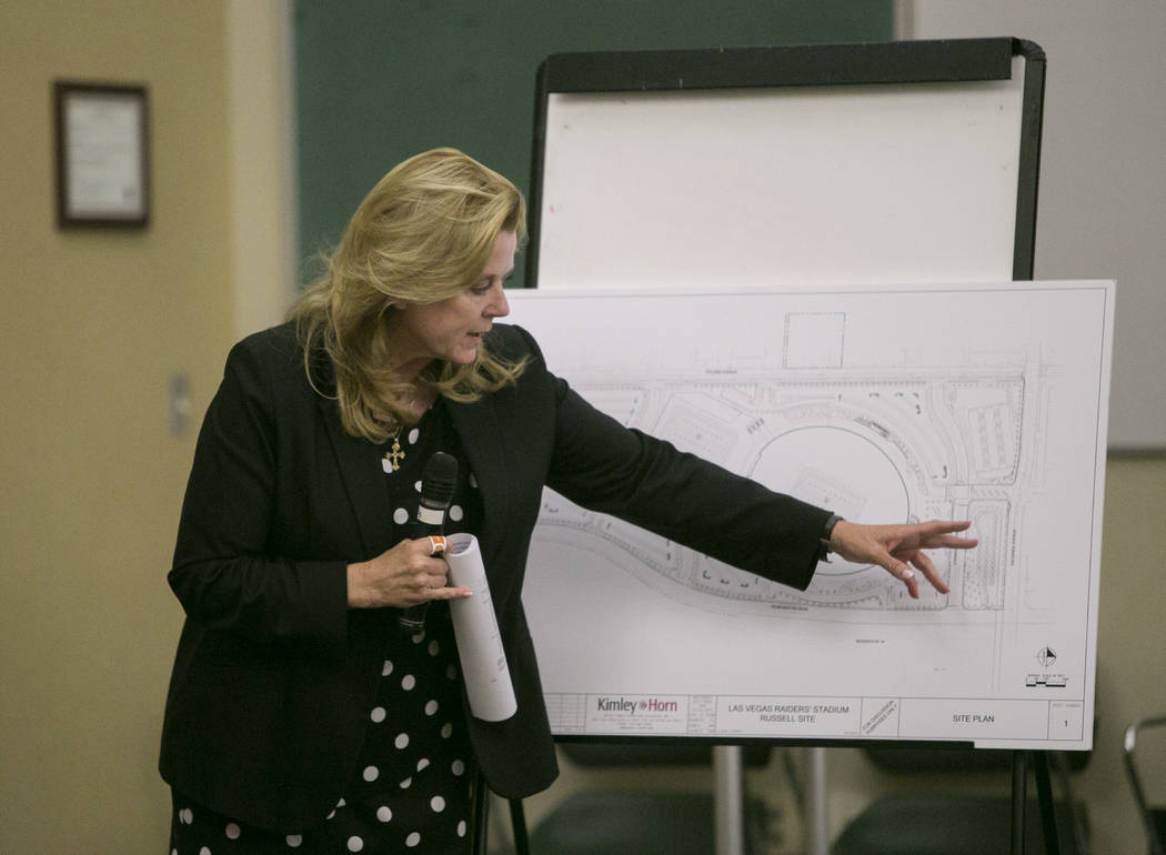 Lucy Stewart, land planning consultant and principle of LAS Consultants, presents the Raiders stadium project to Paradise township residents and the Paradise Town Advisory Board during a meeting a ...