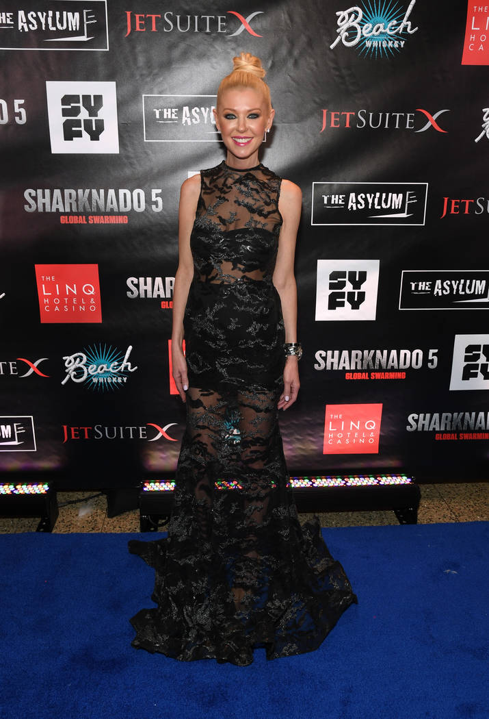 "LAS VEGAS, NV - AUGUST 06:  Actress Tara Reid attends the premiere of ""Sharknado 5: Global Swarming"" at The LINQ Hotel & Casino on August 6, 2017 in Las Vegas, Nevada.  (Photo by Ethan Miller/ ..."