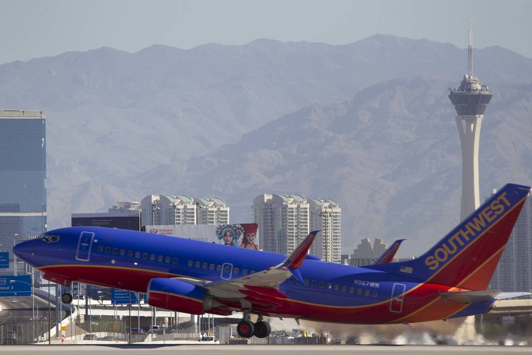 A Southwest Airlines jetliner departs from McCarran International Airport in Las Vegas. (Richard Brian/Las Vegas Review-Journal) @vegasphotograph
