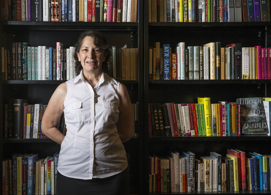 """Las Vegas writer H.G. McKinnis released her first novel, """"A Justified Bitch,"""" during a signing party and reading at the Writer's Block on Tuesday, Aug 8, 2017, in Las Vegas. Benjamin Hager Las Veg ..."""